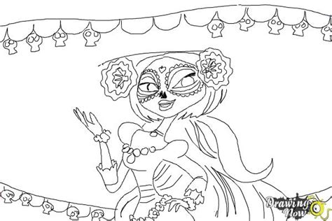 coloring pages the book of life how to draw la muerte from the book of life drawingnow