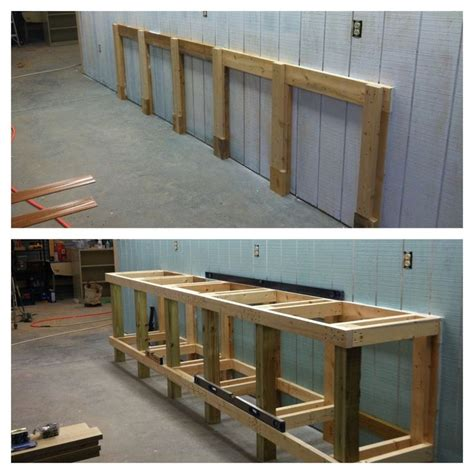 shop benches and cabinets shop work bench framing 4x4 2x4 and 2x6 construction
