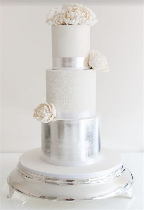 Silver Wedding Cake by 36 Trendy And Glam Metallic Wedding Cakes Weddingomania