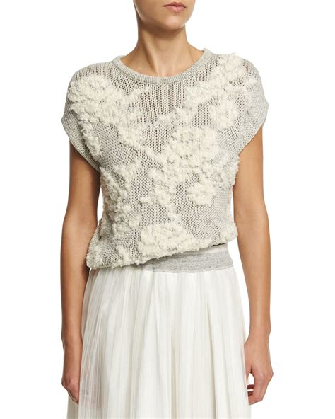 knit pattern short sleeve sweater lyst brunello cucinelli floral knit short sleeve sweater