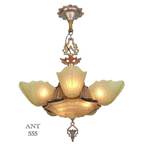 deco chandeliers deco antique 1930s chandelier with slip shades by
