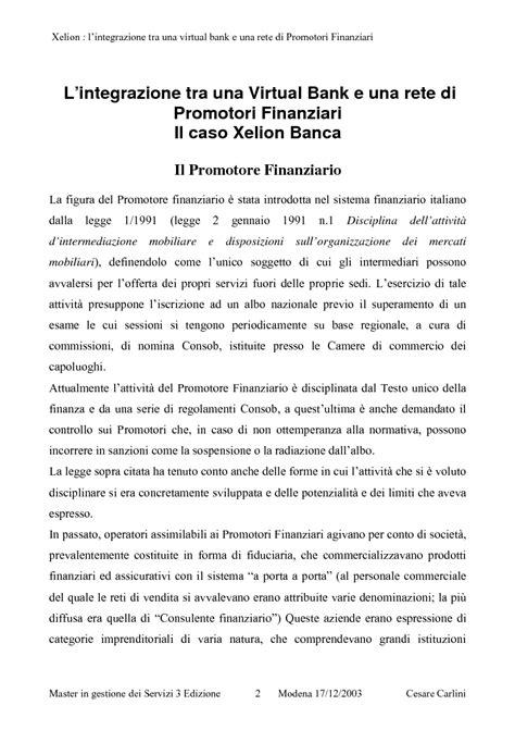 xelion banca integrazione tra una banca on line ed una rete di