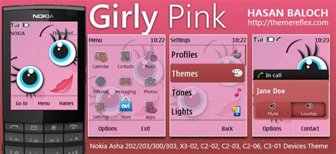 hello kitty themes asha 303 girly pink theme for nokia asha 202 203 300 303 x3 02