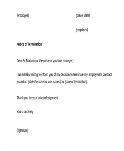 Employment Notice Letter Employment Termination Sle Letters 9 Free Documents In Word Pdf