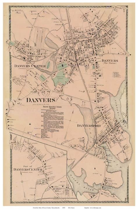 danvers ma essex county ma single map reprints