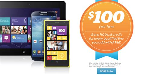 three mobile deals for existing customers at t offering 100 per line bill credit to new and