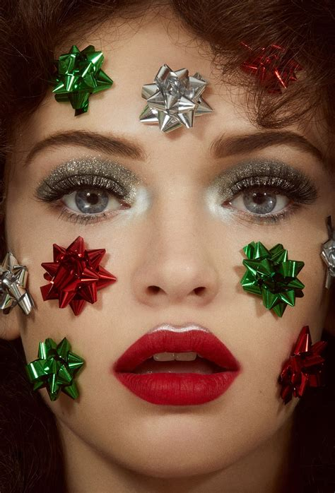 vintage christmas beauty editorial bows glitter