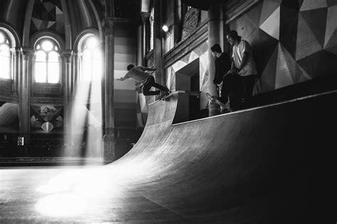 Kaos Colourful Skateboarding bull kaos temple is a 100 year church turned
