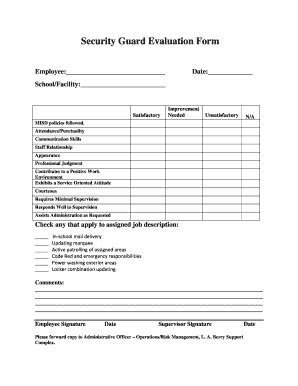 Security Appraisal Form Exel Fill Online Printable Fillable Blank Pdffiller Security Guard Application Form Template