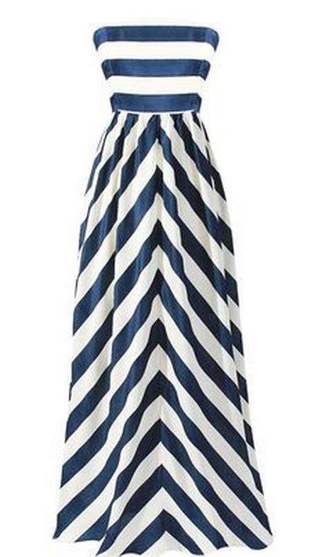 Maxy Stripe navy blue and white striped maxi dress