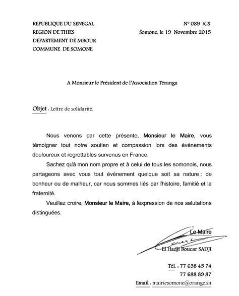 unime lettere une lettre de solidarit 233 du maire de somone au maire de