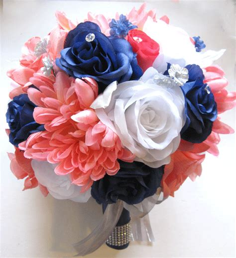coral flowers coral navy blue 17 pc wedding bouquet bridal silk flowers coral navy white