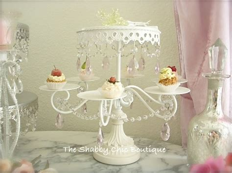shabby chic cake stand with crystals shabby pink prism white chic cupcake candelabra