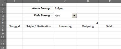 cara membuat database inventory excel potion kartu stock digital