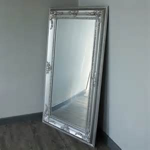 large silver ornate freestaing wall mirror shabby vintage
