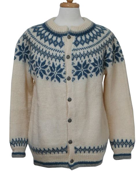 Patterned Sweaters by Vintage Dale Of 1980s Caridgan Sweater Late 80s Or