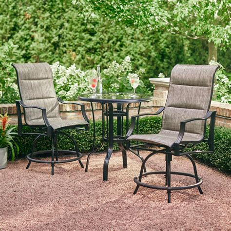 Hampton Bay Statesville Pewter 3 Piece Outdoor Balcony Height Dining Set FCM70357CHS ST   The
