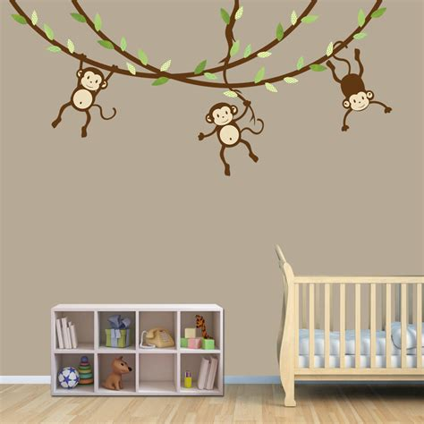 Decals For Nursery Walls Hanging Monkey Wall Decal Monkey Vines Monkey Decal Nursery