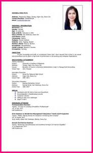 Resume Sle Format For Ojt 10 Resume Sle For Hrm Ojt