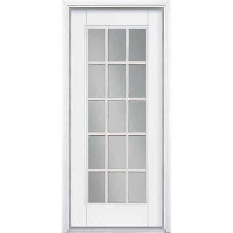 15 Light Exterior Door Masonite 36 In X 80 In White 15 Lite Left Inswing Primed Steel Prehung Front Door With