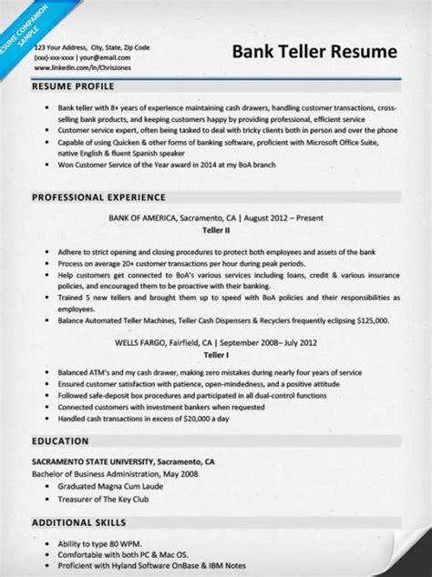 Bank Of America Teller Sle Resume by Bank Teller Resume Sle Writing Tips Resume Companion