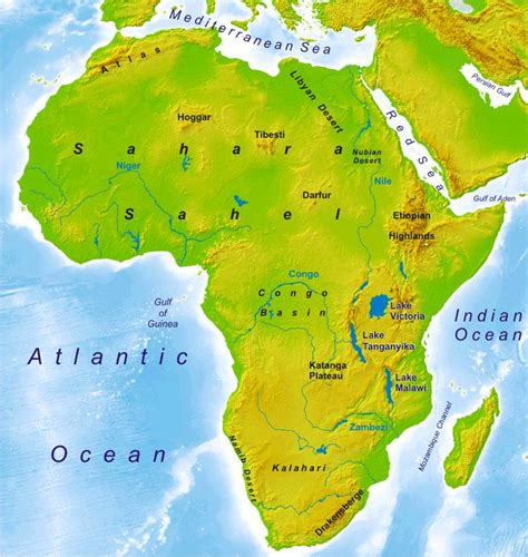 africa map rivers lakes mountains physical and political maps world atlas period 4