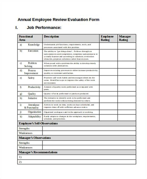 Printable Employee Evaluation Form Annual Employee Review Template