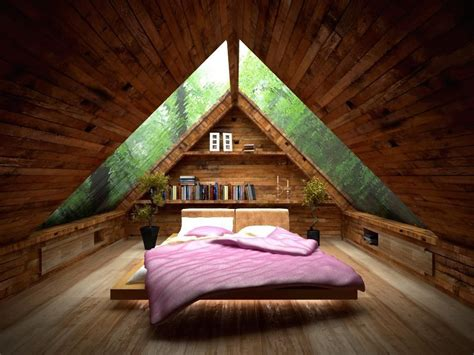 Amusing Small Attic Bed Room Idea With Ceiling Design Idea Bedroom Roof Designs