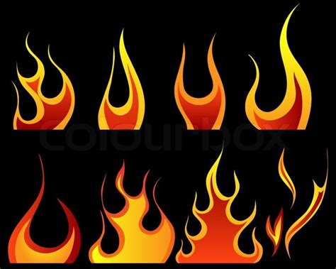 the plain in flames set of different fire patterns for design use stock vector colourbox