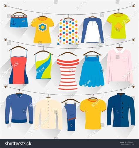 Wardrobe Laundry by Clothes Different Colors On Hangers Stock Vector