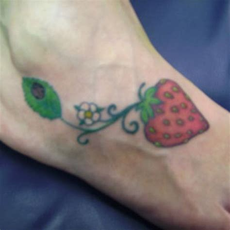 strawberry tattoos designs strawberry on foot