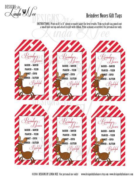 printable reindeer gift tags reindeer noses gift tag label printable party