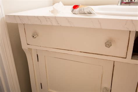 Vanity With Left Side Drawers by How To Repurpose A Sideboard Into A Sink Vanity In My