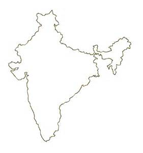 Country Outline by Map Of India Terrain Area And Outline Maps Of India Countryreports