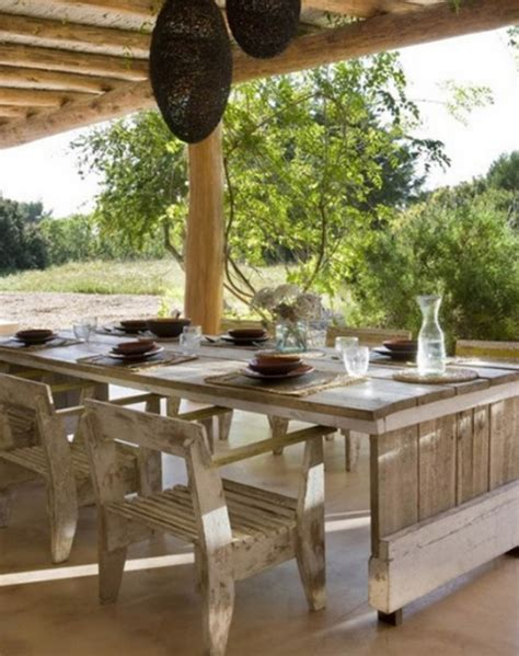 Outdoor Dining Room by Traditional House Design With Vintage Wooden Furnitures