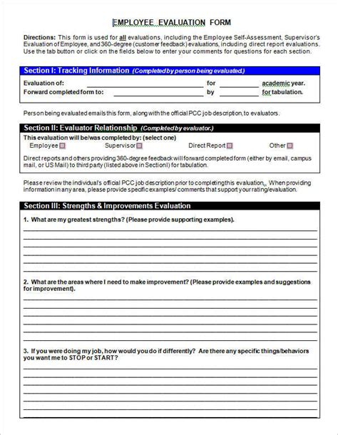 employee performance review form template employee self evaluation sle child care employee self