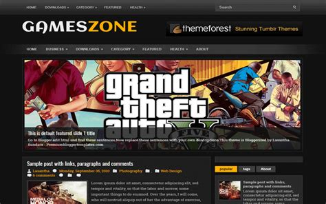 entertainment templates for blogger gameszone entertainment clean blogger template