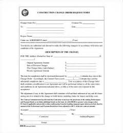 contractor change order form template 10 sle construction change order forms sle forms