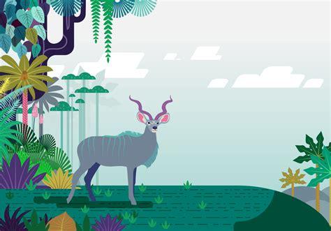 floral jungle kudu vector   vectors clipart graphics vector art