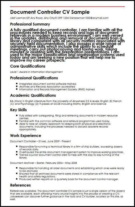 it experience resume format doc document controller cv sle myperfectcv