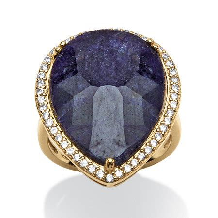 Blue Cubic Zirconia Ring 18 18 63 tcw pear cut midnight blue sapphire and cubic