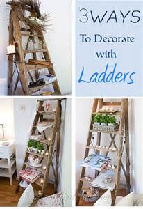 Cottage decorating using old ladders