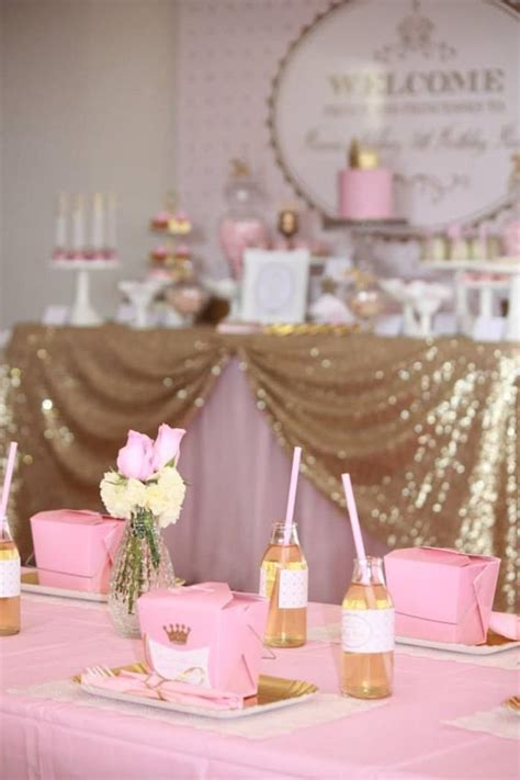 pink and gold baby shower table decorations pink and gold princess party so many really cute ideas via