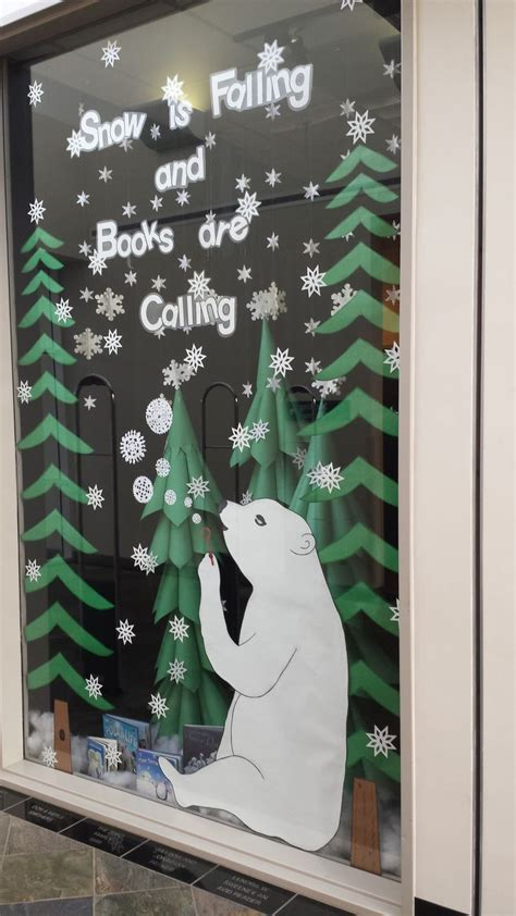 winter calling books snow is falling and books are calling library display for