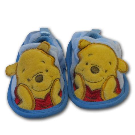 Disney Baby Shoes Winnie The Pooh Color Blue For Boys crib shoes infant toddler blue winnie the pooh velour slippers size 6 12 months