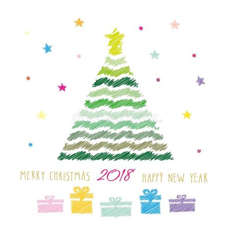 merry christmas  happy  year  card colour pencils drawing sketch design stock
