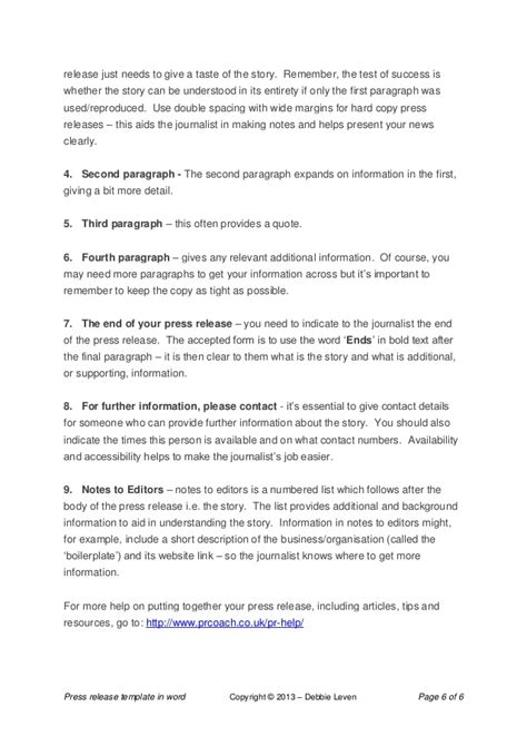 press release template word