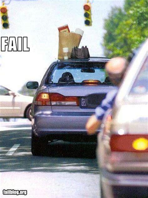 fail driving   left  stuff   roof