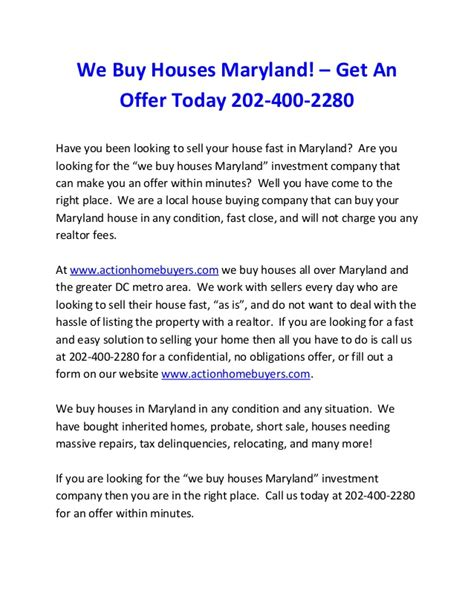 we buy houses maryland we buy houses maryland call 202 400 2280 for an offer sell house