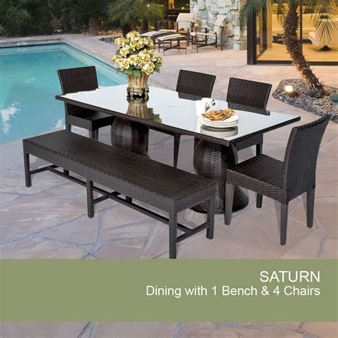 Patio Table With Bench Outdoor Wicker Dining Set Patio Dining Set With Bench
